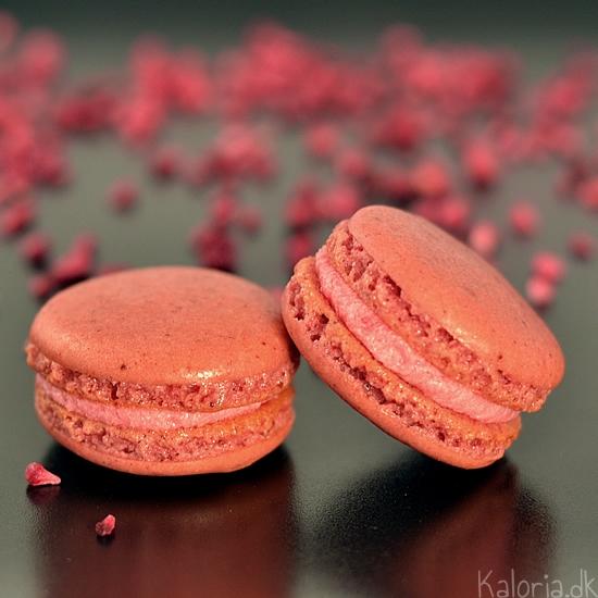 hindbær-macarons