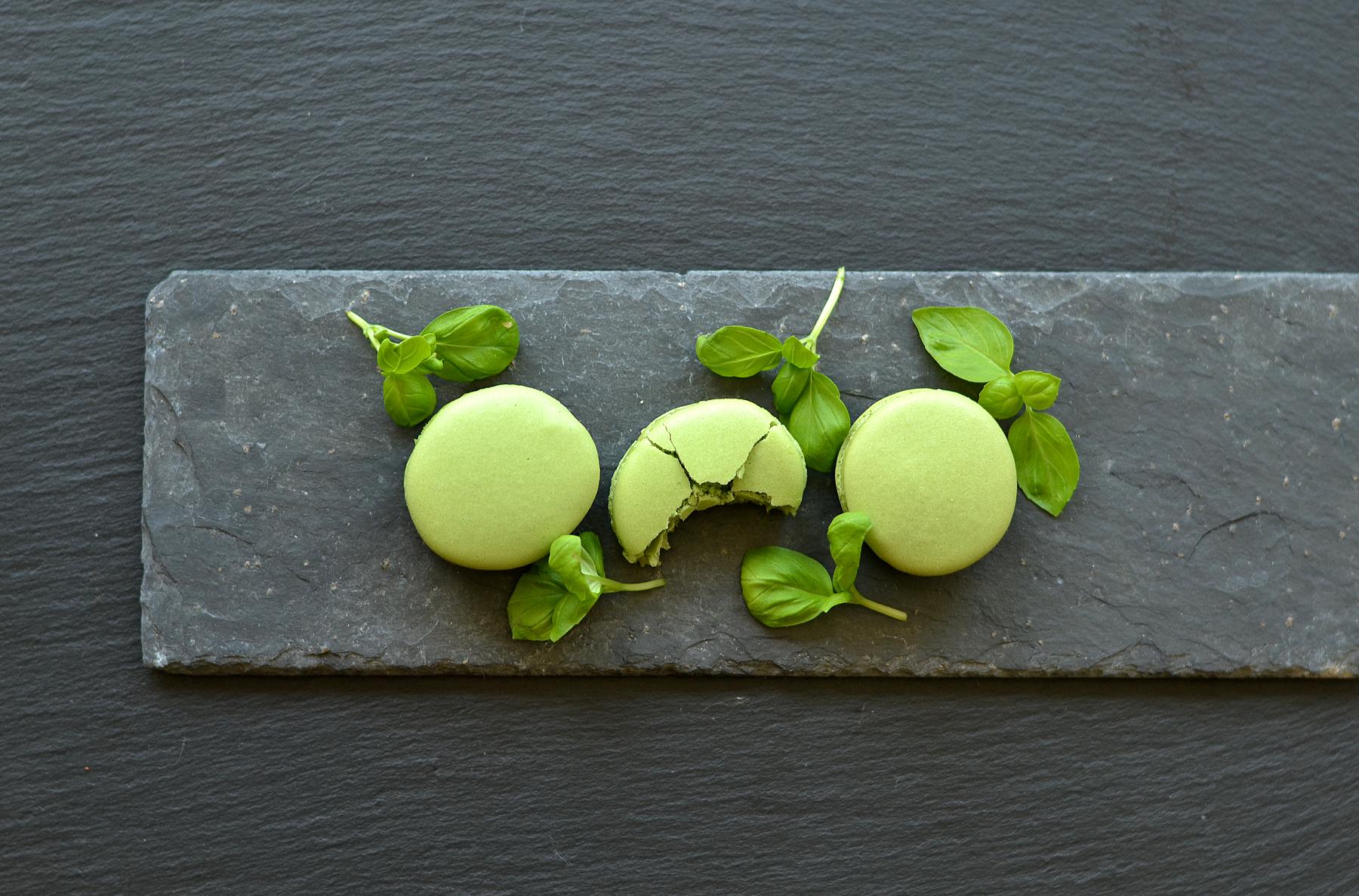 white chocolate basil ganache macarons